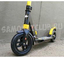 Самокат RACE SPIRIT 2019 (желтый) с надувными колесами и амортизаторами