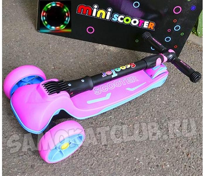 Большой 4-х колесный самокат Scooter (2019) розовый со складной ручкой