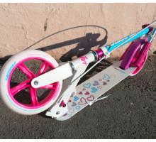 Самокат Race Spirit Love 180 с ручным тормозом (бело-розовый)