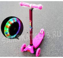 Scooter Maxi самокат со светящимися колесами. Розовый для девочек