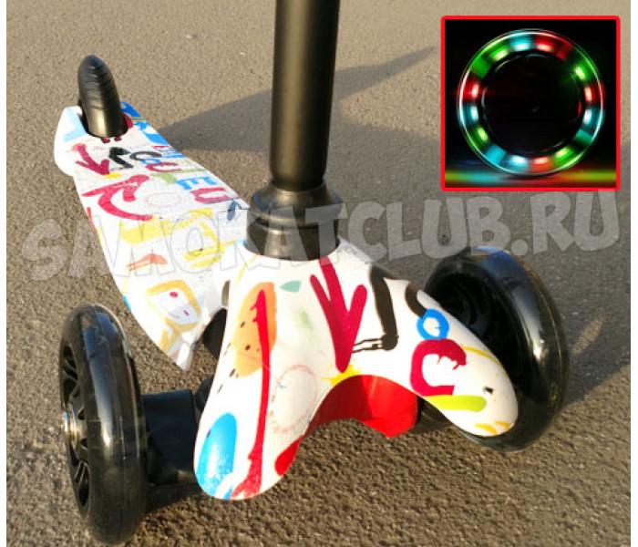 Трехколесный самокат Scooter Mini Graffiti (Скутер Мини) с рисунком (белый)
