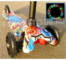 Scooter Mini Graffiti 3-х колесный самокат со светящимися колесами (красный)