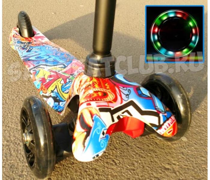 Трехколесный самокат Scooter Mini Graffiti (Скутер Мини) с рисунком (красный)