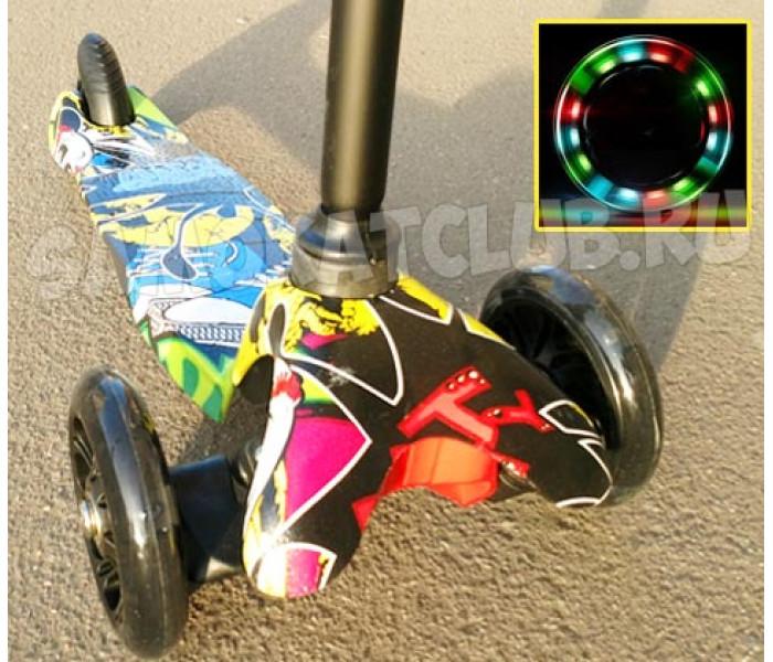 Трехколесный самокат Scooter Mini Graffiti (Скутер Мини) с рисунком (черный)