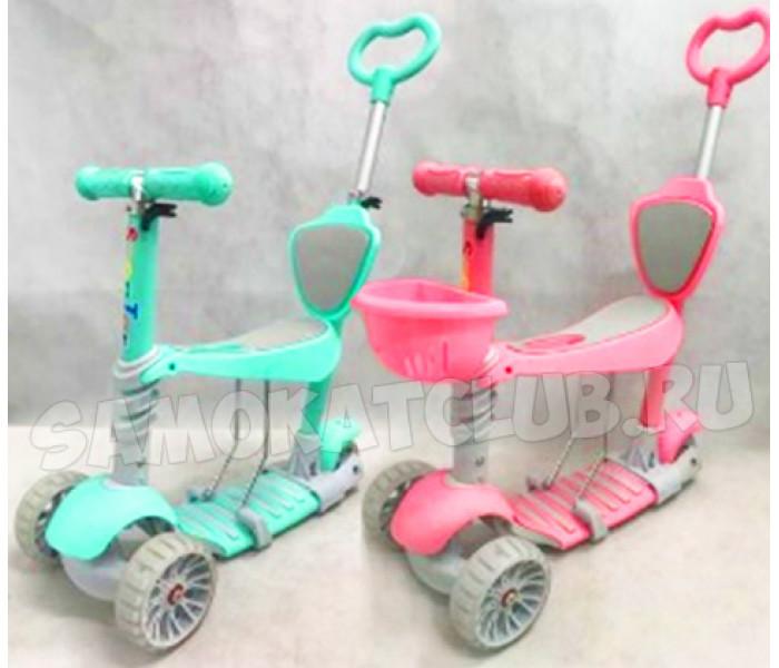 Самокат-каталка Scooter 5в1 с ручкой для родителей и сиденьем для малышей