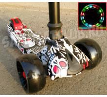 Cамокат Scooter Maxi PRINT с широкими светящимися колесами (складной)