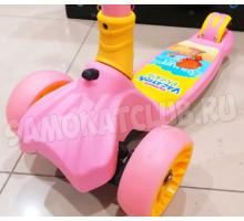 Scooter Vokul розовый самокат для девочек со светящимися колесами