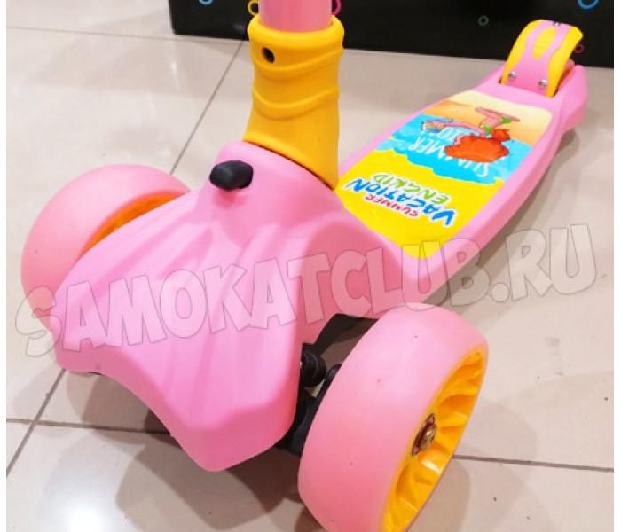 3-х колесный самокат Vokul Scooter розовый (2021) со складной ручкой и светящимися колесами