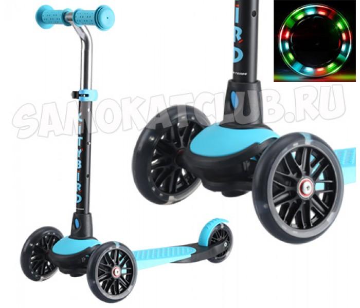 Самокат TT City Bird 2017 (голубой) поворачивает наклоном колеса с подсветкой