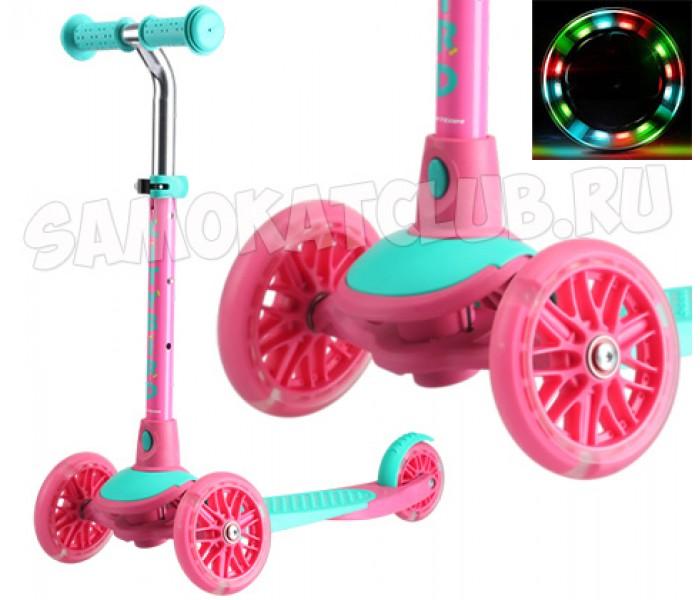 Самокат TT City Bird 2017 (розовый) поворачивает наклоном колеса с подсветкой
