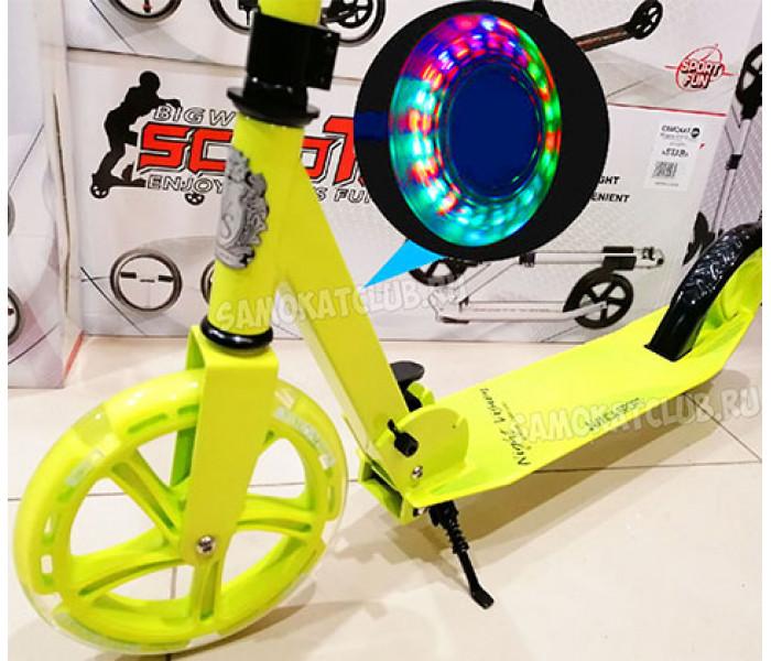 Самокат Vinca Sport  Лайм с большими светящимися колесами 200мм