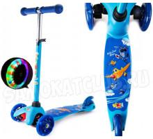 Vinca Sport Blue Planes детский самокат со светящимися колесами