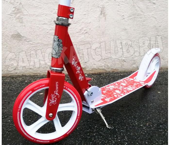 Самокат Vinca Sport Flowers с большими колесами 200мм бело-красный