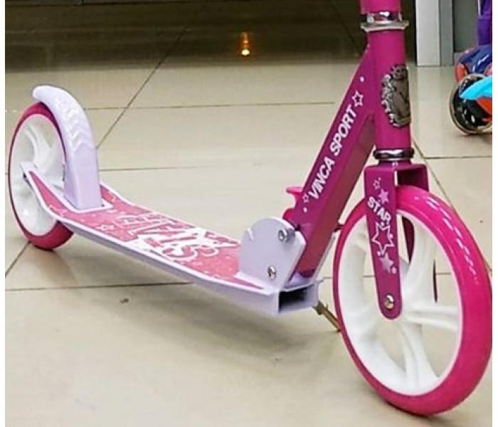 Самокат Vinca Sport Star с большими колесами 200мм бело-розовый