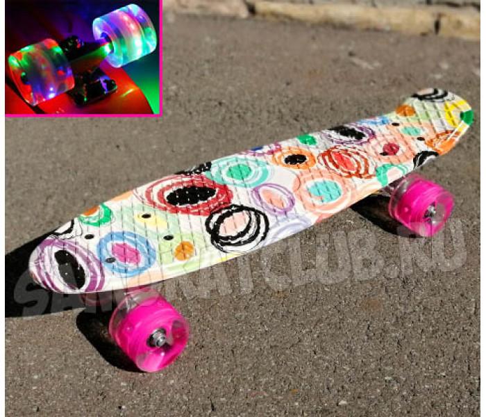 Мини-круизер Modern 22 дюйма с розовыми колесами