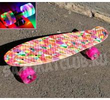 """Скейт 22"""" Калейдоскоп со светящимися колесами"""
