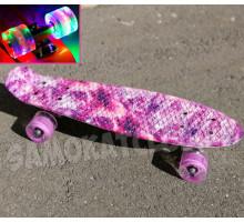 "Скейт 22"" Pink Planet со светящимися колесами"