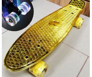 "Скейт 22"" Metallic GOLD со светящимися колесами"