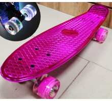 "Скейт 22"" Metallic PINK со светящимися колесами"
