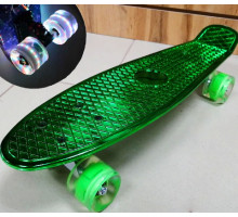 """Мини-круизер 22"""" Metallic GREEN со светящимися колесами"""