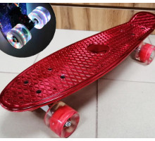 """Мини-круизер 22"""" Metallic RED со светящимися колесами"""