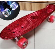 "Скейт 22"" Metallic RED со светящимися колесами"