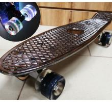 "Скейт 22"" Metallic BLACK со светящимися колесами"