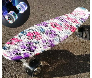 "Скейт 22"" Flowers со светящимися колесами"