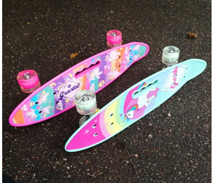 Скейтборд детский розовый 24 дюйма (колеса светятся)