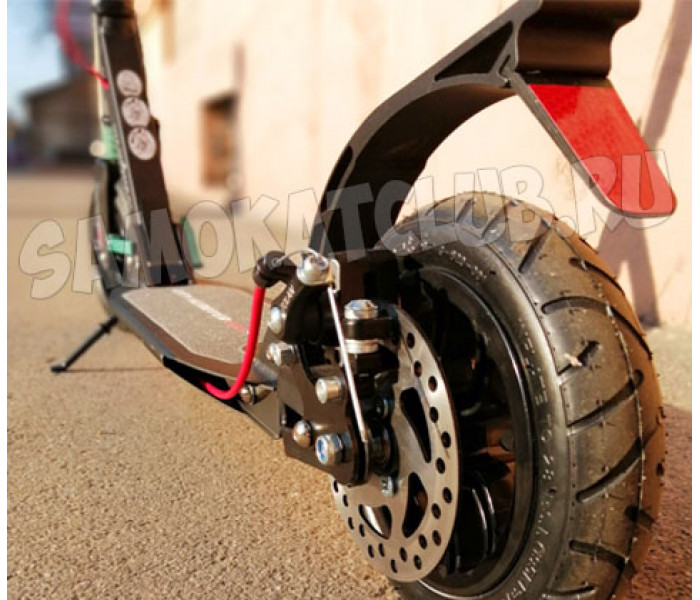 Самокат с надувными колесами City Scooter Disk черно-голубой