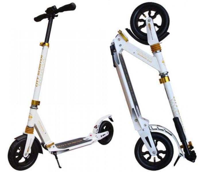 Самокат с надувными колесами City Scooter белый