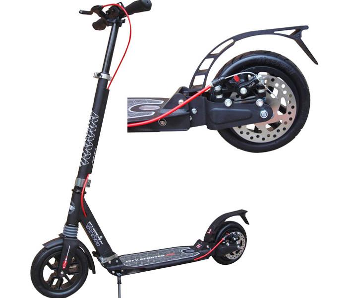 Самокат с надувными колесами City Scooter Disk черный