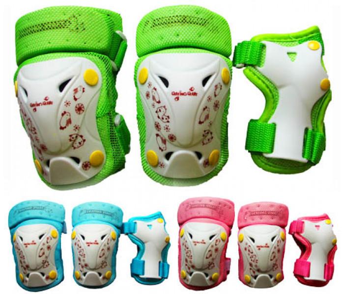 Комплект защиты для локтей, колен и запястий (розовый, зеленый, голубой)