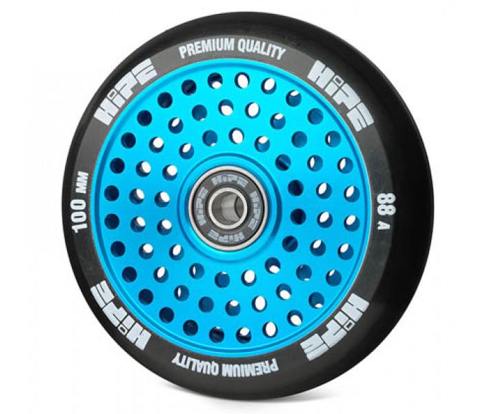 Колесо HIPE H20 Hollow 100мм (голубое) для трюкового самоката (металл)