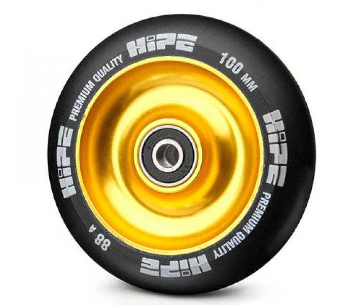 Колесо HIPE Solid 100 мм золотой/черный для трюкового самоката (металл)