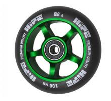 Колесо HIPE 5Spoke 100 мм зеленый/черный для трюкового самоката с подшипником