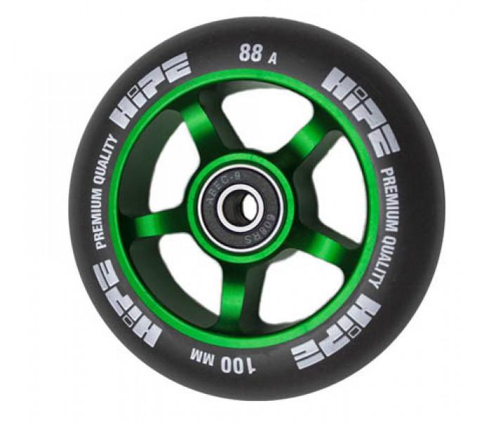 Колесо HIPE 5Spoke 100 мм Green для трюкового самоката (металл)