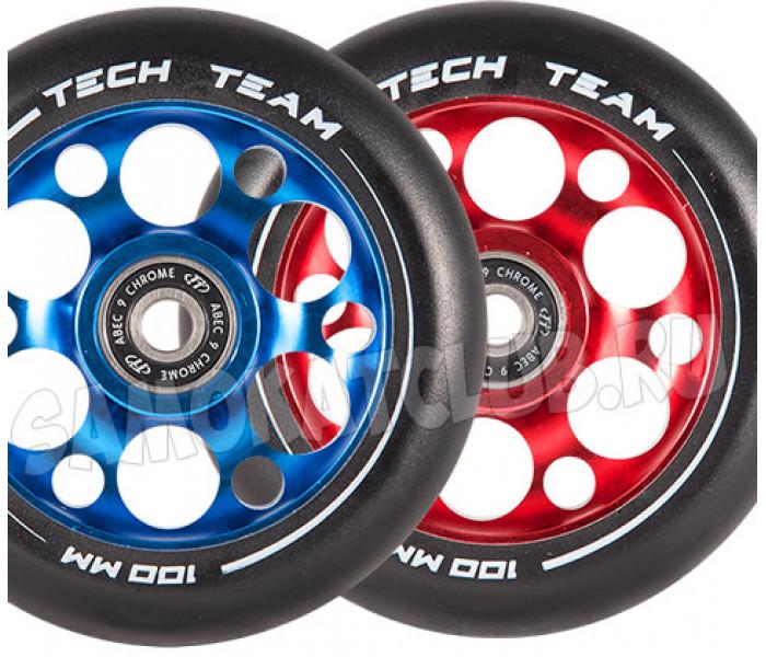 Колесо 100 мм TT Drilled Core для трюкового самоката (синий, красный)