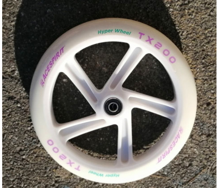 Колесо 200 мм для самоката полиуретан с подшипниками. Цвет белый