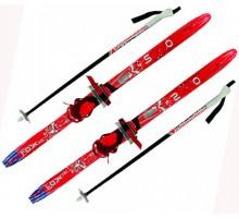 """Лыжи детские """"Комби"""" красные 140 см с палками и креплениями"""