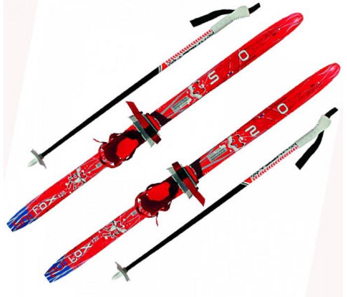 """Детские лыжи """"Комби"""" красные 140 см набор с палками и креплениями"""