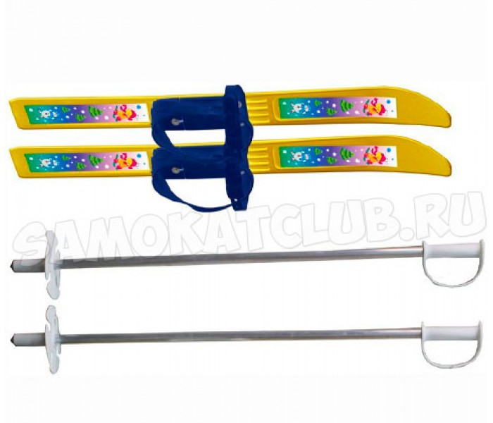 Детские лыжи Мишки 66/75 см с палками и креплениями