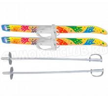 """Лыжи детские """"Лыжики пыжики"""" Ручки 75/75 см с палками и креплениями"""