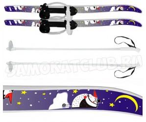 """Лыжи детские """"Быстрики"""" Пингвины 90/90 см с палками и креплениями"""
