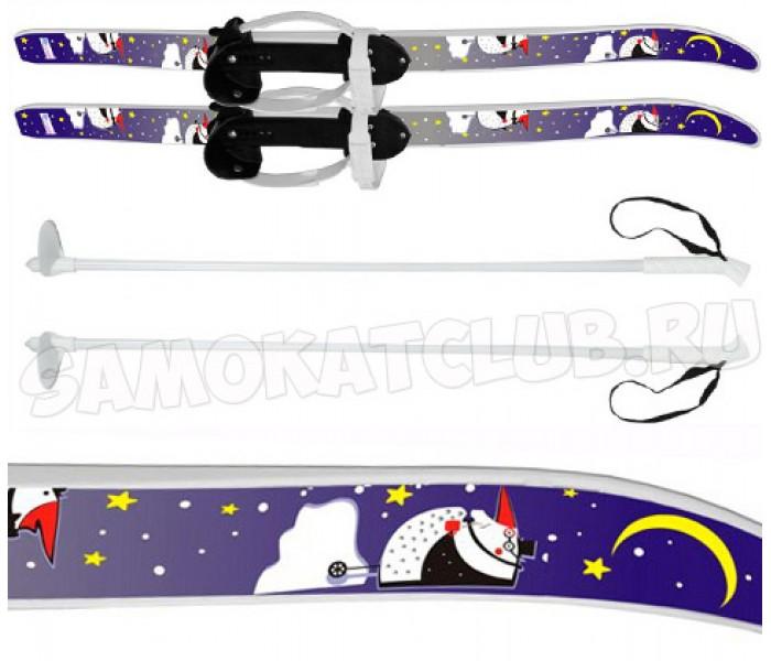 """Детские лыжи """"Быстрики"""" Пингвины 90/90 см  с палками и креплениями"""