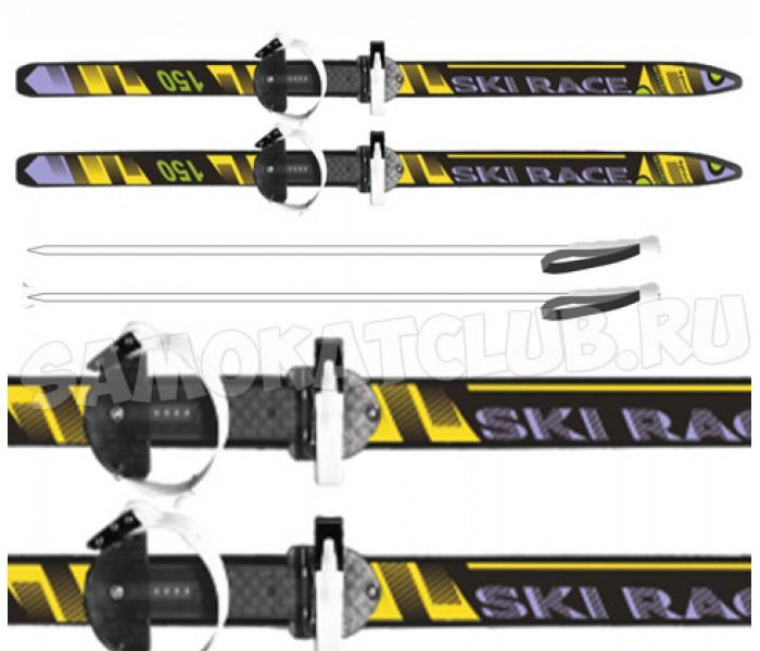 Подростковые лыжи 150/110 см с палками и креплениями