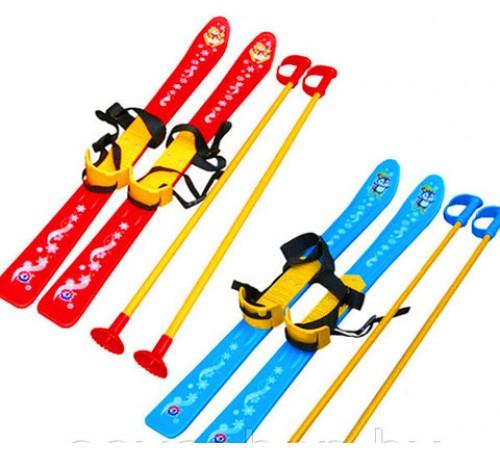 Детские лыжи с палками и креплениями