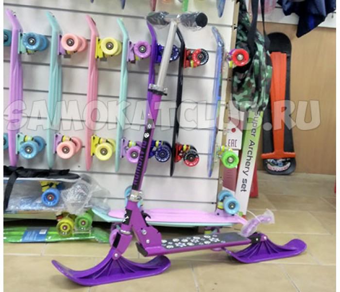 Зимний самокат для детей со сменными колесами и лыжами
