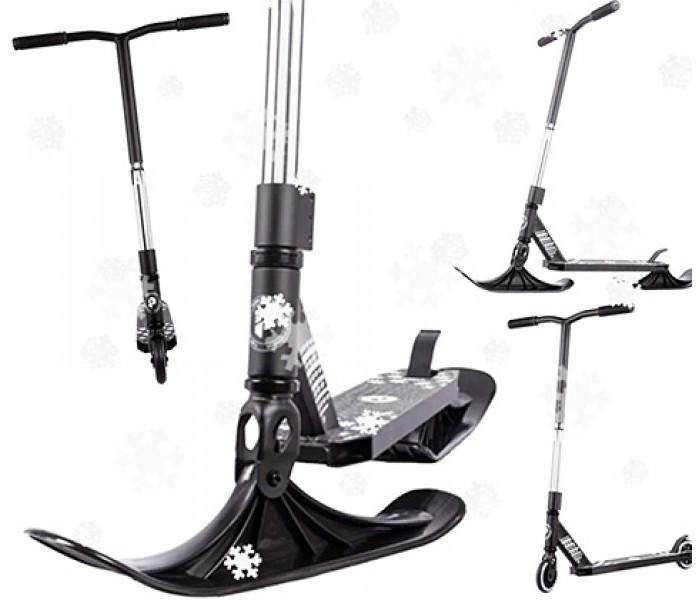 Трюковой самокат на лыжах Plank CYCLE Black (снегосамокат)