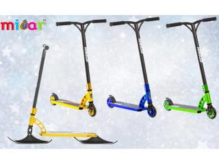 Зимние трюковые самокаты с лыжами и колесами.